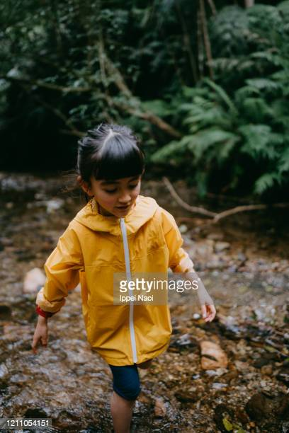 young girl hiking in river in forest, okinawa, japan - reality fernsehen stock pictures, royalty-free photos & images