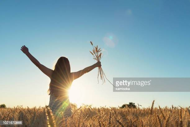 young girl holding a cereals bouquet against sunlight - free walpaper stock photos and pictures