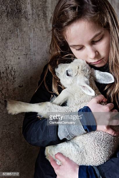 Young Girl Holding a Lamb