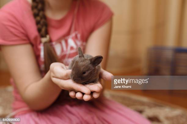 Young girl holding small bunny in her hands