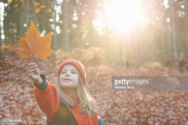 Young girl holding up a leaf in Autumnal woodland