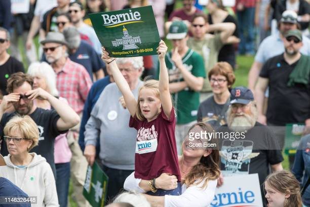 Young girl holds up a Bernie Sanders campaign sign during a rally in the capital of his home state of Vermont on May 25, 2019 in Montpelier, Vermont....