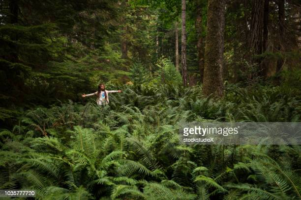 young girl immersed in lush nature - fern stock pictures, royalty-free photos & images