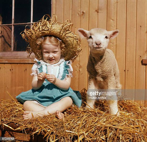 A young girl in a blue dress and straw hat sits next to a lamb on a stack of hay 1940s
