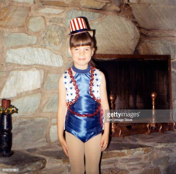 Young girl in a patriotic dance outfit poses ca 1967