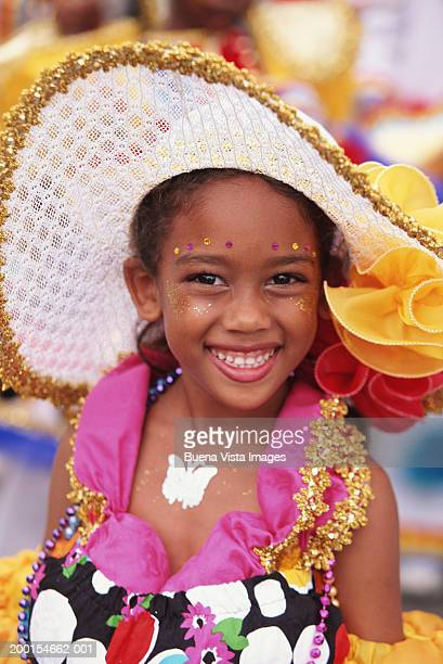 young girl (8-10) in carnival costume - trinidad and tobago stock pictures, royalty-free photos & images