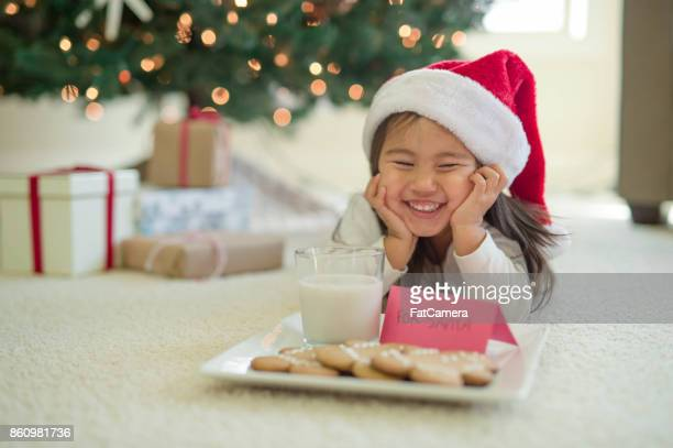 young girl in christmas hat puts out cookies and milk for santa - naughty santa stock photos and pictures