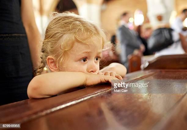 Young girl in church