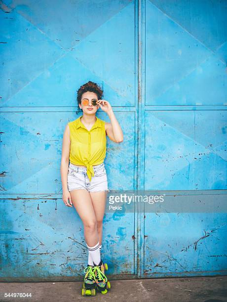 young girl in colorful roller skates - roller skating stock photos and pictures
