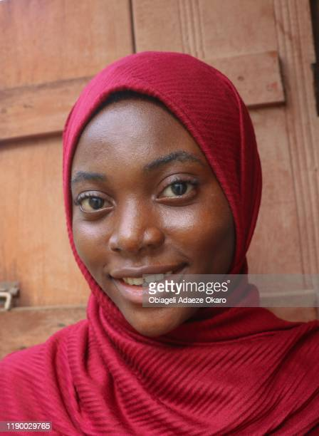 young girl in her hijab. - nigeria stock pictures, royalty-free photos & images