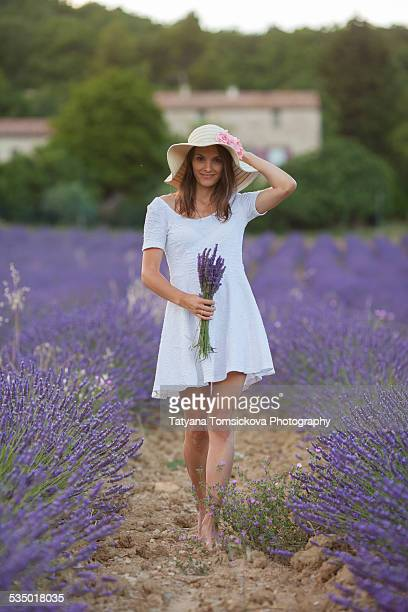 Young girl in lavender field