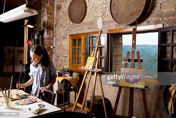 Young Girl in Painting Studio