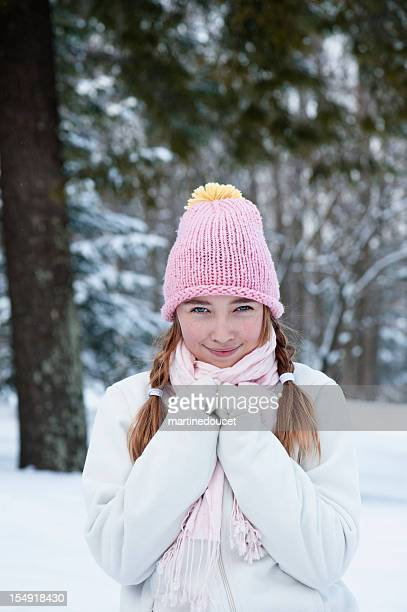 Young girl in snow.