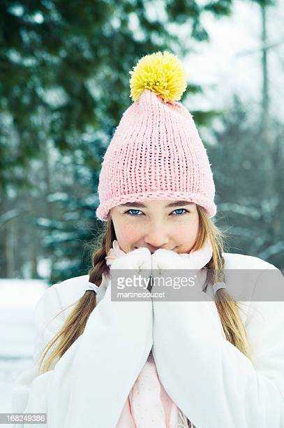 """young girl in snow. - """"martine doucet"""" or martinedoucet stock pictures, royalty-free photos & images"""