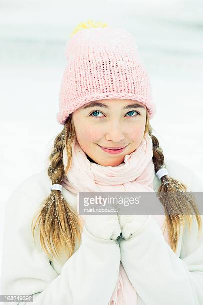 "young girl in snow. - ""martine doucet"" or martinedoucet bildbanksfoton och bilder"