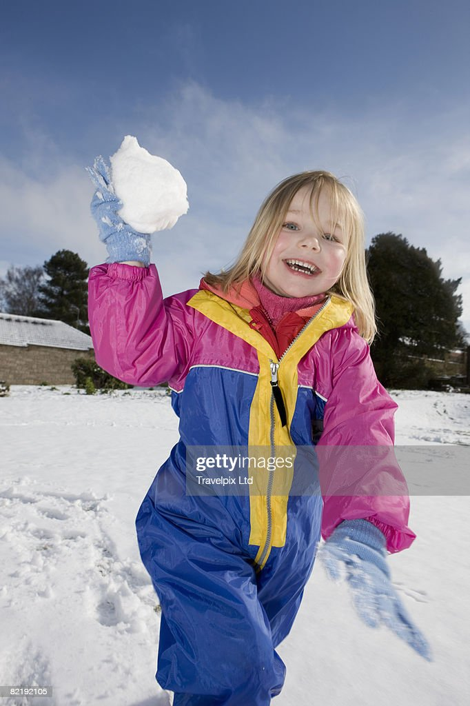 young girl in snow : Stock Photo