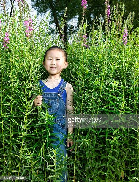 Young girl (8-10) in tall field of flowers