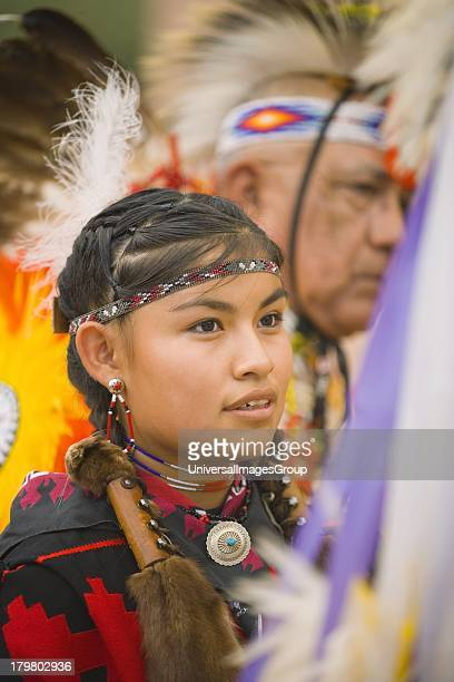 Young girl in the Kiowa Comanche dance group Gallup InterTribal Indian Ceremonial Gallup New Mexico