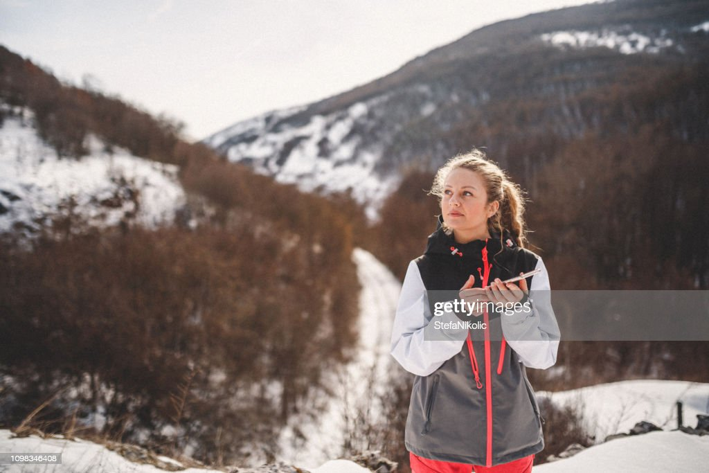Young girl in the mountain : Stock Photo