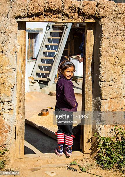 A young girl in the village Chimi Lhakhang in the Punakha Valley with its temple monastery is renowned for its fertility blessings phallus or penis...