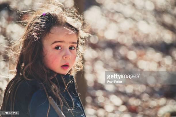 a young girl in the woods on a hike. - abused child stock photos and pictures