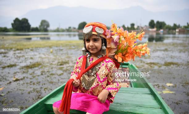 young girl in traditional kashmir outfit - kashmir stock photos and pictures