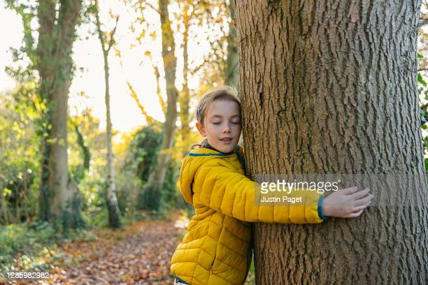young girl in yellow coat hugging a tree - positive emotion stock pictures, royalty-free photos & images