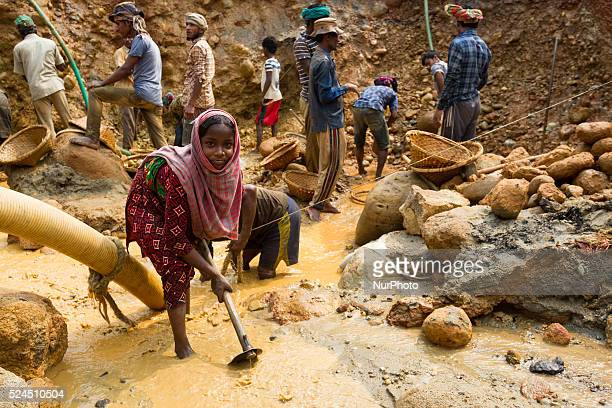 A young girl is also working in stone extraction site in Sylhet Bangladesh on February 28 2015 Sylhet is a very resourceful place of Bangladesh in...