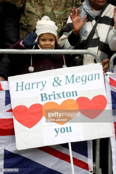 A young girl is awaiting the arrival of Prince Harry and his fiancee Meghan Markle during their visit to Reprezent 1073FM on January 9 2018 in London...