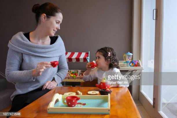 Young Girl is having a Tea Time Party with her Mother