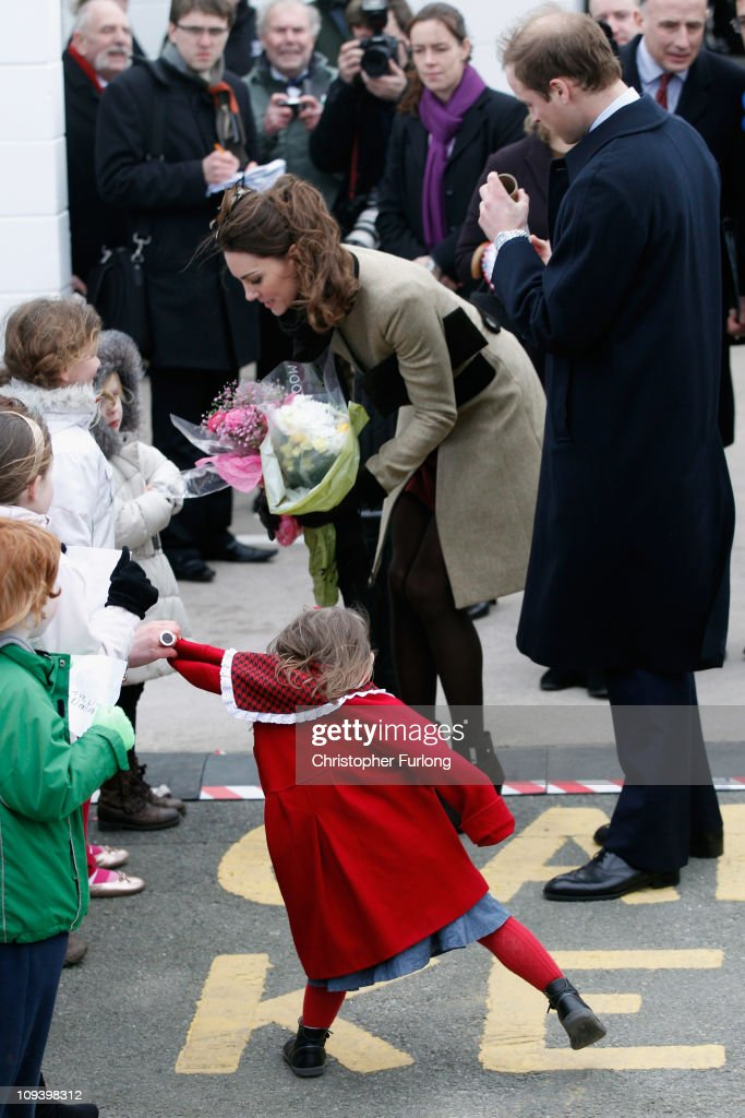 Prince William and Kate Middleton visit Trearddur Bay RNLI Lifeboat Station : News Photo