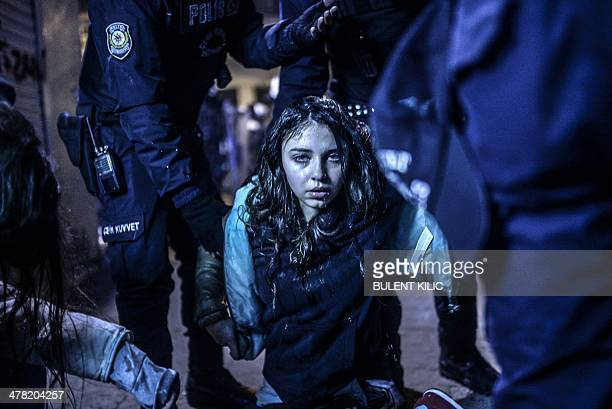 Young girl is pictured after she was wounded during clashes between riot-police and prostestors after the funeral of Berkin Elvan, the 15-year-old...