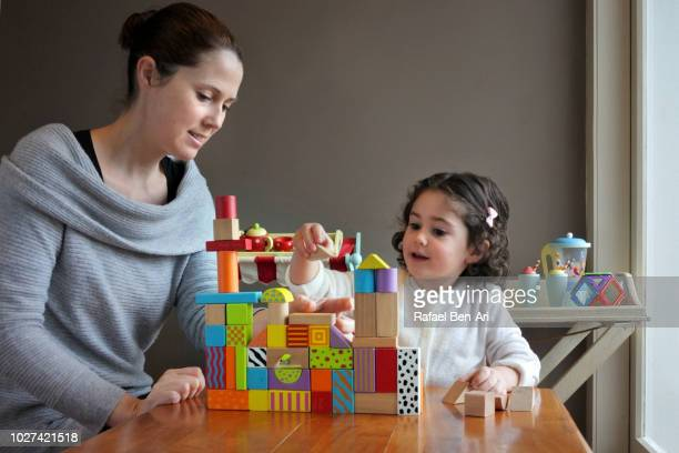 Young Girl is Playing Building Bricks with her Mother