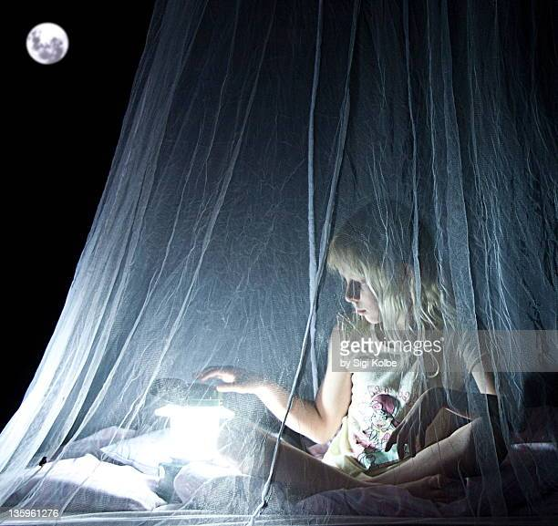 young girl is sitting under mosquito net - mosquito net stock photos and pictures