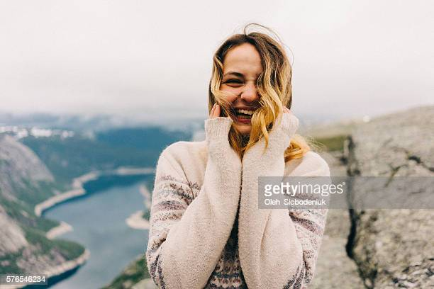 young girl laughing - nordic countries stock photos and pictures