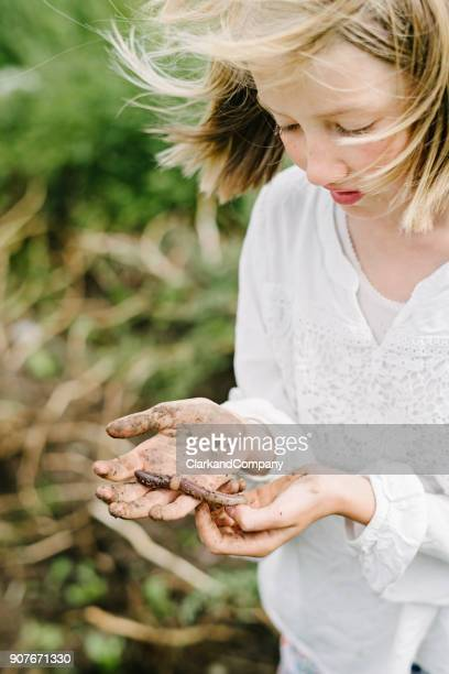 young girl learning and playing with an earthworms in her kitchen garden. - earthworm stock pictures, royalty-free photos & images
