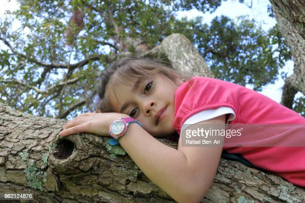 Young girl lies on a tree