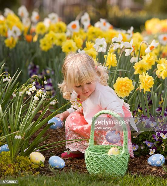 Young Girl Looking for Easter Eggs