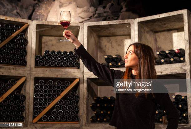 young girl looks color of wine by raising a glass against the light in the cellar. mese, valchiavenna, valtellina, lombardy, italy, europe. - winery stock pictures, royalty-free photos & images