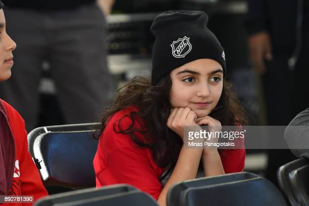 A young girl looks on during the 2017 Scotiabank NHL100 Classic Legacy Project press conference at the Boys Girls Club Police Youth Centre on...