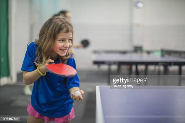 Young girl loves table tennis