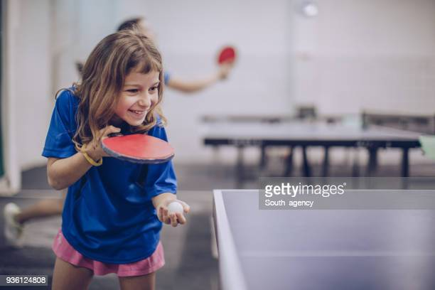 young girl loves table tennis - table tennis stock pictures, royalty-free photos & images