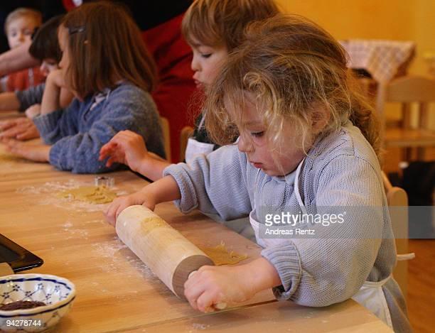 A young girl makes sugar cookies at a kindergarten of the Rudolf Steiner Waldorfschule on December 11 2009 in Berlin Germany Each year Berlin's...