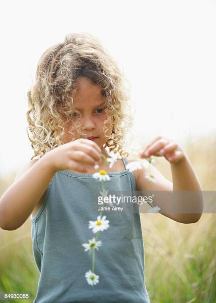 Young girl making a daisy chain