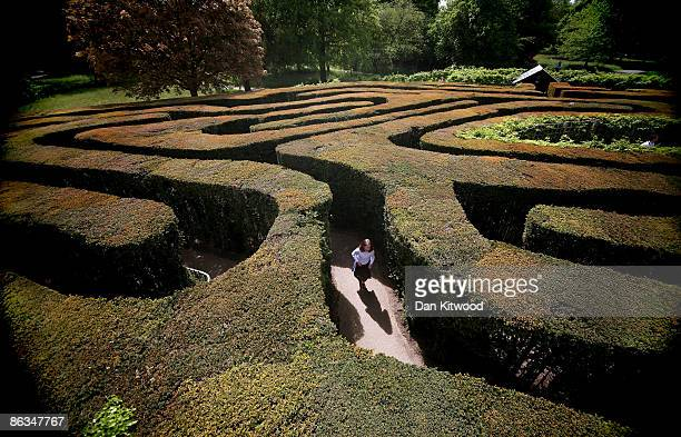 Young girl navigates her way around Hampton Court maze in the spring sunshine on May 2, 2009 in London, England. The Hampton Court maze is one of the...