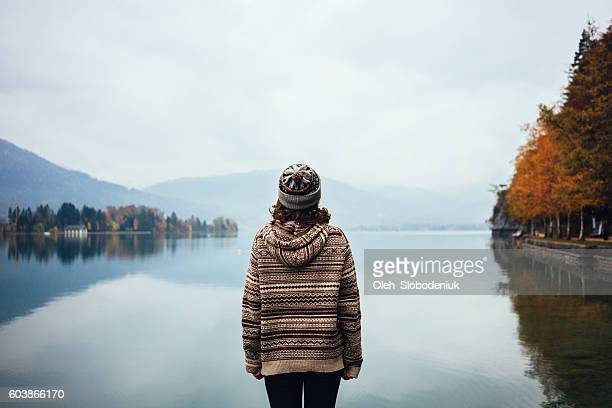 Young girl near the lake