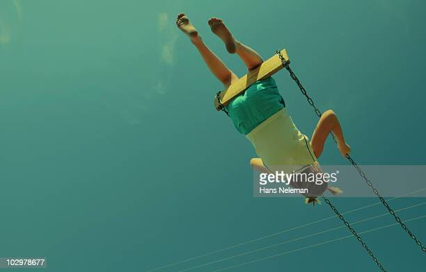 young girl on a swing, kiev, ukraine - swing stock pictures, royalty-free photos & images