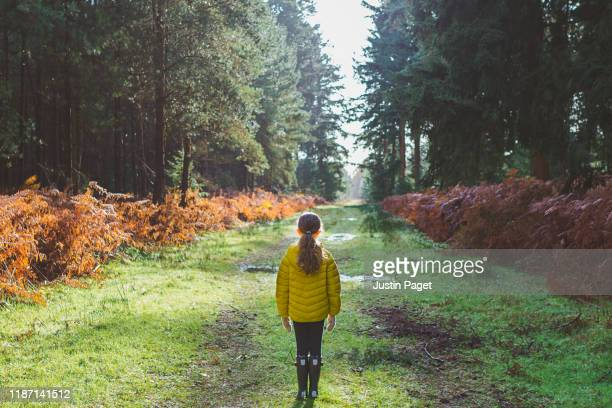 young girl on path in forest - woodland stock pictures, royalty-free photos & images