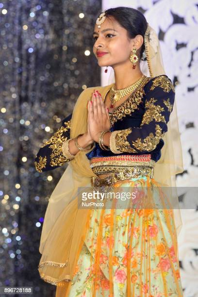 Young girl performs a traditional classical dance during the Miss Tamil Canada Queen of Angels beauty pageant held in Scarborough Ontario Canada on...