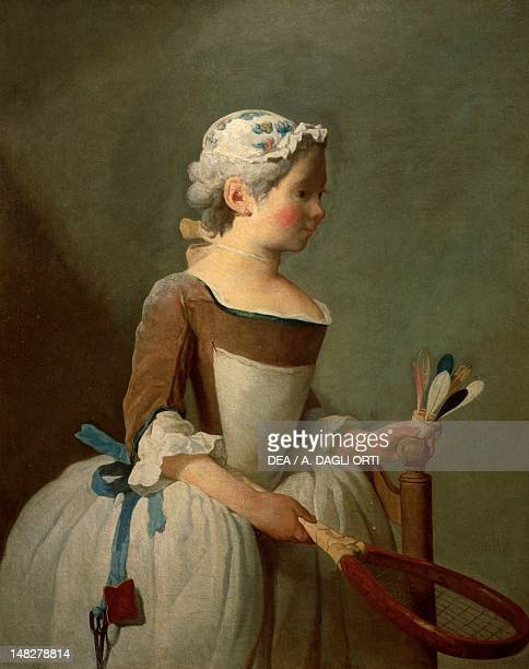 Young girl playing badminton by Jean Baptiste Simeon Chardin Florence Galleria Degli Uffizi